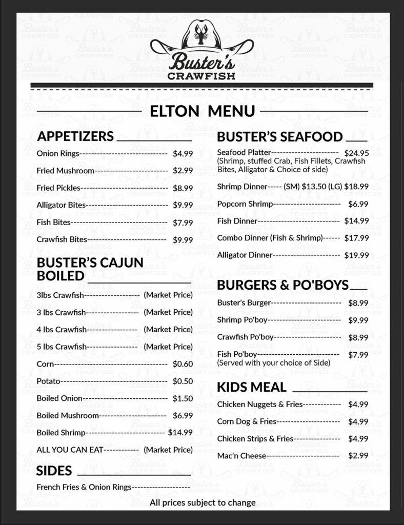 buster elton menu