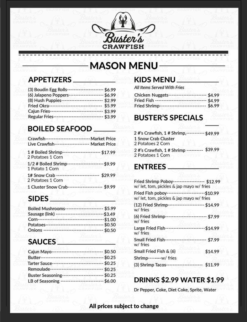 buster mason rd menu